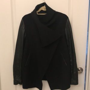 Mackage leather & wool wrap jacket